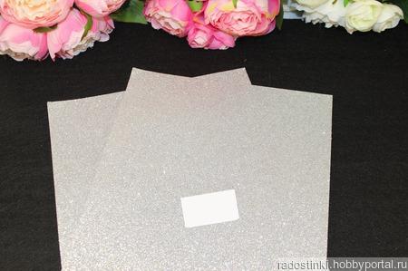 Фоамиран глиттерный цвет серебро 2мм (20*30см) ручной работы на заказ
