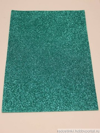 Фоамиран глиттерный цвет бирюзовый 2мм (20*30см) ручной работы на заказ