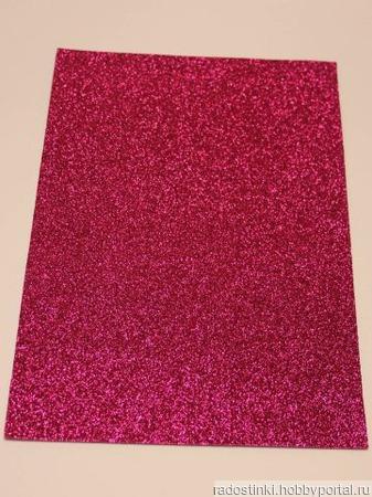 Фоамиран глиттерный цвет ярко-розовый 2мм (20*30см) ручной работы на заказ