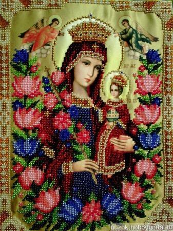 Икона Божьей Матери Неувядаемый цвет ручной работы на заказ
