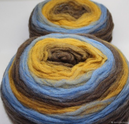 Brown-Blue (Коричневый-синий) Ровница Кауни ручной работы на заказ