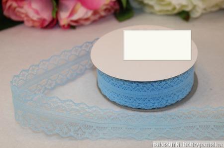 Кружево капрон цвет голубой 25мм ручной работы на заказ