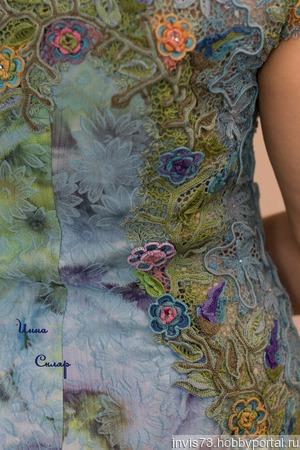 Платье 50 оттенков голубого ручной работы на заказ