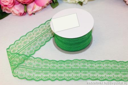 Кружево капрон цвет зелёный 45мм ручной работы на заказ