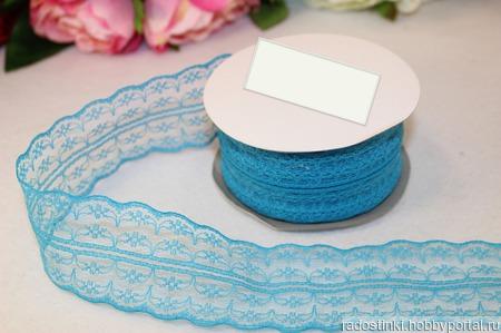 Кружево капрон цвет голубой 45мм ручной работы на заказ