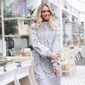 Вязаное платье свитер ручной вязки