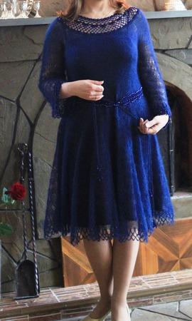 Платье из мохера с бисером ручной работы на заказ
