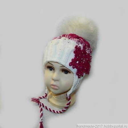 Шапка вязаная для девочки с градиентом ручной работы на заказ