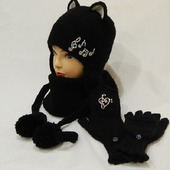 Комплект шапка кошка снуд варежки- перчатки