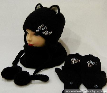 Комплект шапка кошка снуд варежки- перчатки ручной работы на заказ