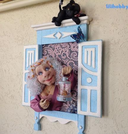 """3D панно ночник кукла """"Киса, пора спать!"""" ручной работы на заказ"""