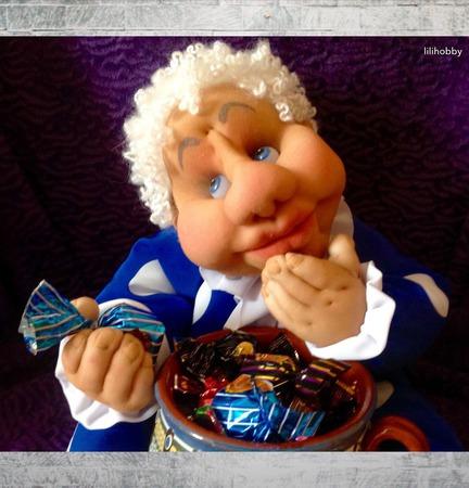 "Конфетница ""Угощайтесь!"" чулочная кукла ручной работы на заказ"