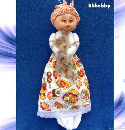 Пакетница Дуся (чулочная кукла) ручной работы на заказ