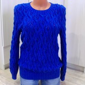 Пуловер ажурный с косами синий