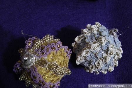 Новогодний текстильный шарик ручной работы на заказ
