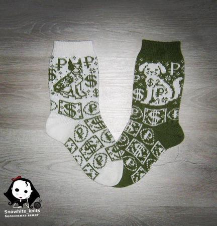 Бивалютные носки с собакой ручной работы на заказ