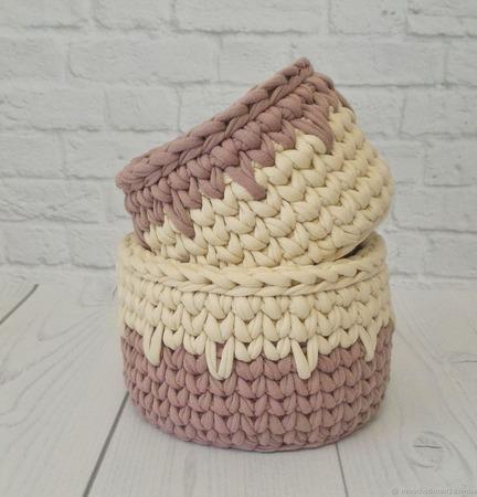 Интерьерные корзиночки - матрёшки из трикотажной пряжи ручной работы на заказ