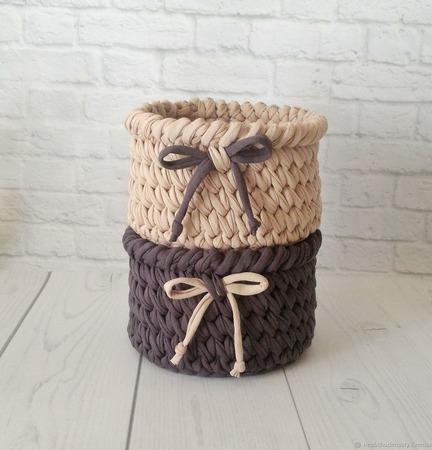 Комплект интерьерных корзин-компаньонов из трикотажной пряжи ручной работы на заказ