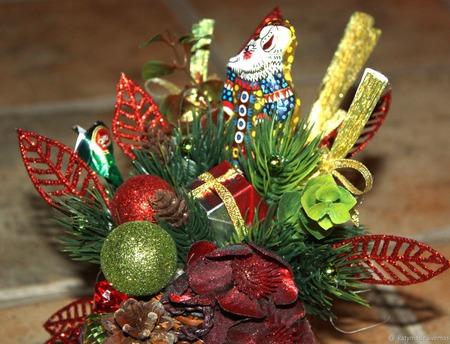 Новогодний сувенир кашпо валенок ручной работы на заказ