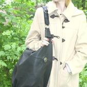 """Очень Большая черная сумка """"Подарок"""" натуральная кожа"""