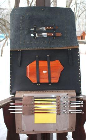 """""""На шашлыки!""""  Складной кожаный чехол для мангала. ручной работы на заказ"""