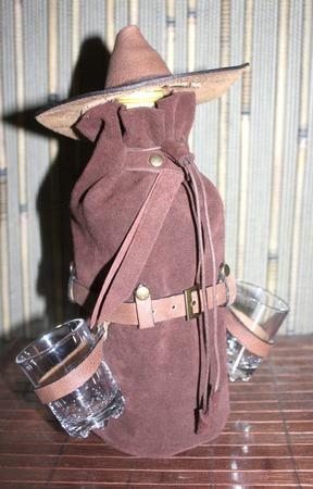 Текила БУМ! Замшевый чехол для бутылки. ручной работы на заказ