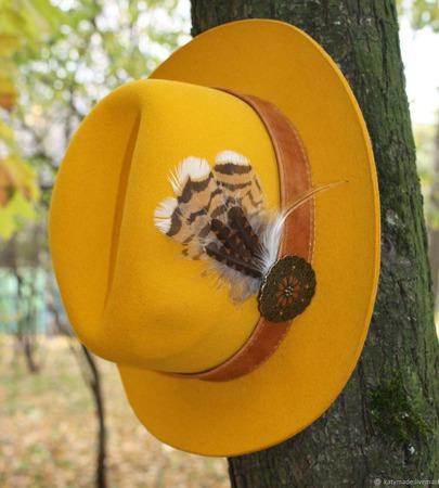 """Желтая!"" Шляпа женская фетровая ручной работы на заказ"