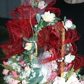 Свадебный корабль из конфет Алые паруса, букет из конфет