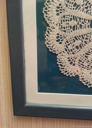 Винтажная салфетка интерьерное панно синее ручной работы на заказ
