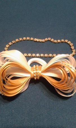"""""""Золотая бабочка"""" бантик на резинке ручной работы на заказ"""