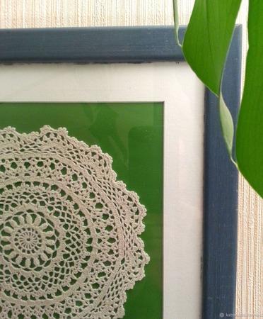 Винтажная салфетка интерьерное панно зеленое ручной работы на заказ