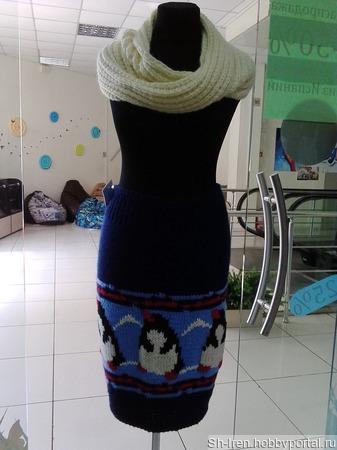 Теплая юбка с пингвинами ручной работы на заказ