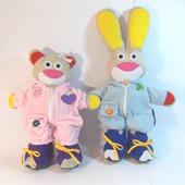Развивающая игрушка Мишка и Зайчик