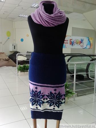 Теплая юбка с орнаментом ручной работы на заказ