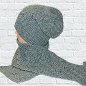Вязаная шапка бини и шарф, вязаная шапка женская мужская