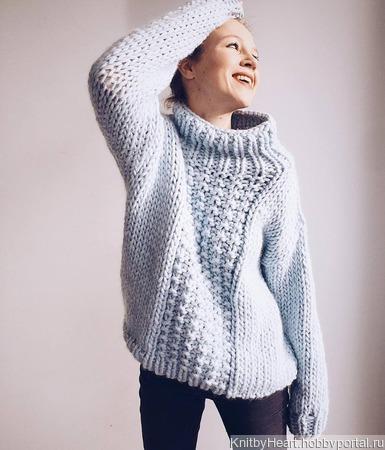 Вязаный свитер из толстой пряжи ручной работы ручной работы на заказ