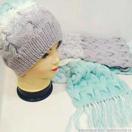 Комплект шапка и шарф градиент ручной работы на заказ