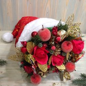 Новогодний букет из конфет «Шапка Деда Мороза».