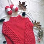 Вязаный свитер оверсайз из толстой пряжи ручной вязки