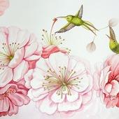 Картина Колибри в цветущем саду  в гостиную спальню розовый белый