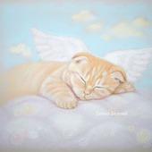 Картина Сны в облаках нежная в спальню рыжий кот ангел спящий голубой
