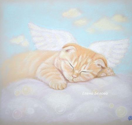 Картина Сны в облаках нежная в спальню рыжий кот ангел спящий голубой ручной работы на заказ