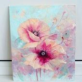 """Картина """"Мелодия нежности"""" цветы в гостиную подарок розовый голубой"""