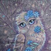 Картина Птица Счастья фэнтези сова в детскую ночная сказка синий