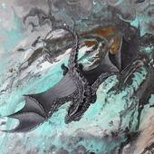 Картина Летящий дракон абстракция фэнтези для интерьера серый голубой