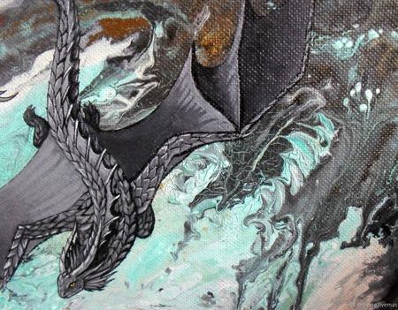 Картина Летящий дракон абстракция фэнтези для интерьера серый голубой ручной работы на заказ