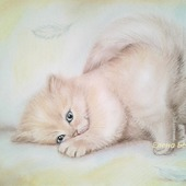 """Картина """" Как перышко..."""" )) кот в спальню пастель нежный бежевый"""