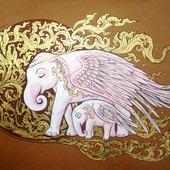 Картина Волшебные слоны интерьер стиль египет золотой коричневый