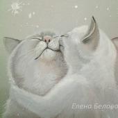 """Картина с котами """"Нежность"""" в спальню, детскую,на свадьбу,серый белый"""