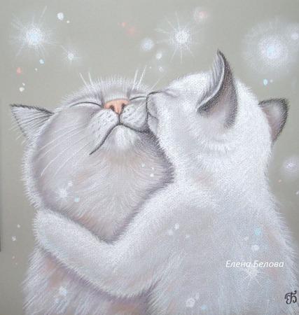 """Картина с котами """"Нежность"""" в спальню, детскую,на свадьбу,серый белый ручной работы на заказ"""